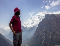 she is just enjoying the view of Annapurna