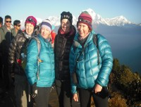 four sister taking a picture at pun Hill 3210mt