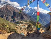 mountain view with prayer flag