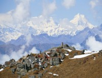 Looking Valley and Ganeh himal range from the Lauribinyak top