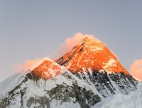 sunset on the top of Everest