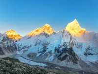 amazing  sunset on the top of Lolache, Everest and Nupche
